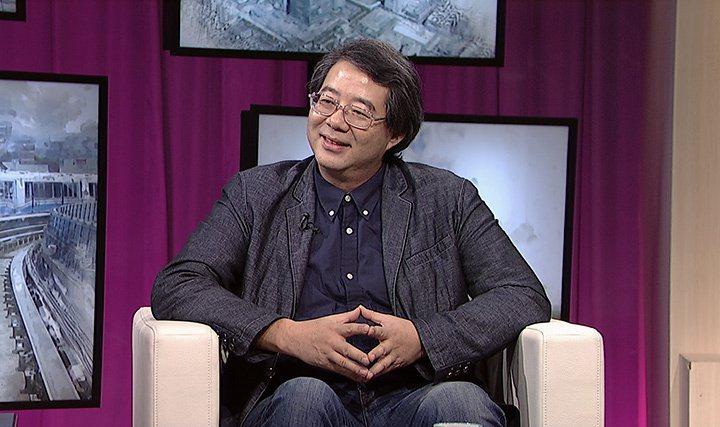 齊柏林為了宣傳紀錄片接受節目專訪。圖/台視提供