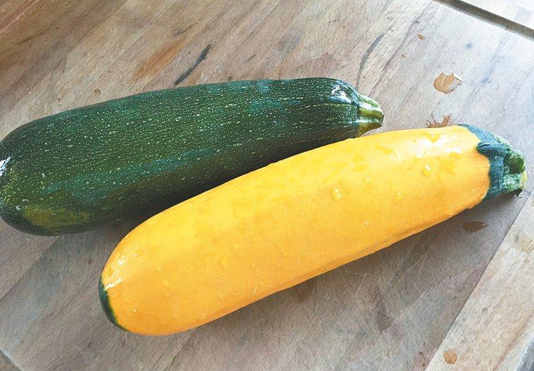 夏南瓜又稱櫛瓜,是葫蘆科作物,外觀顏色、花紋跟南瓜神似。 圖╱朱慧芳