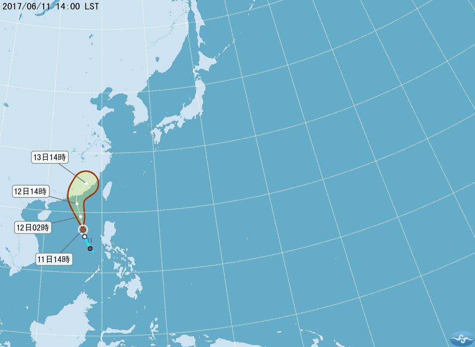 莫柏颱風生成。圖/氣象局提供