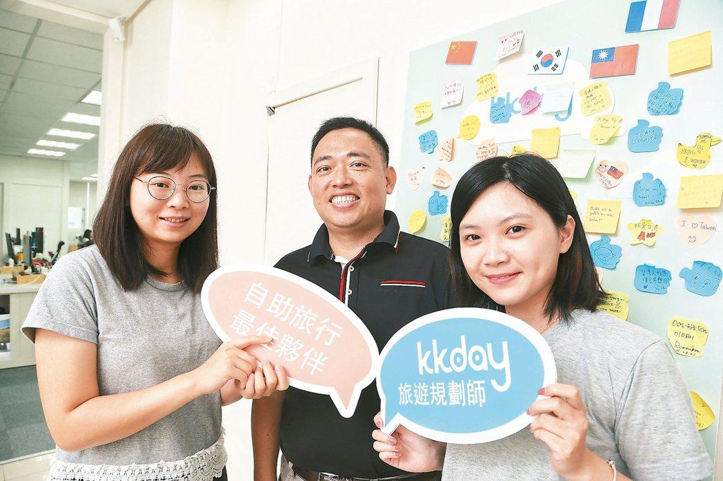 KKday旅遊網站創辦人陳明明(中)與經營團隊。 記者陳立凱/攝影