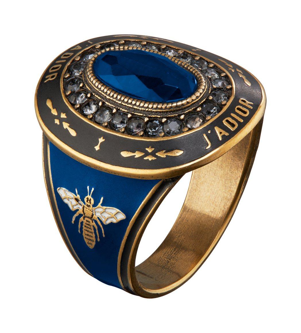 JAdior藍寶石色金屬烤漆戒指。圖/Dior提供