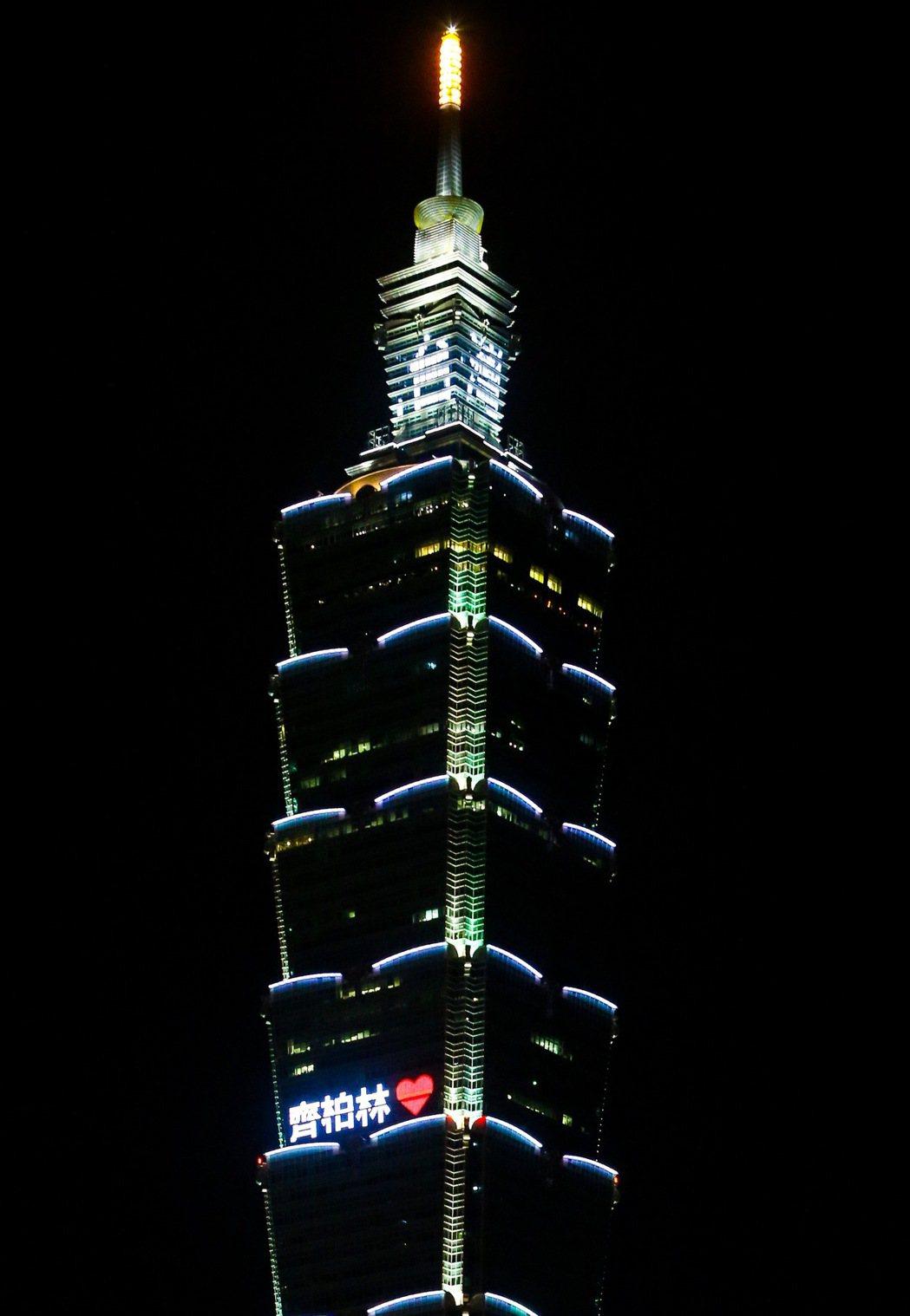 悼念導演齊柏林,台北101在頂冠點亮「看見台灣」字樣,並於59、60樓LED螢幕...