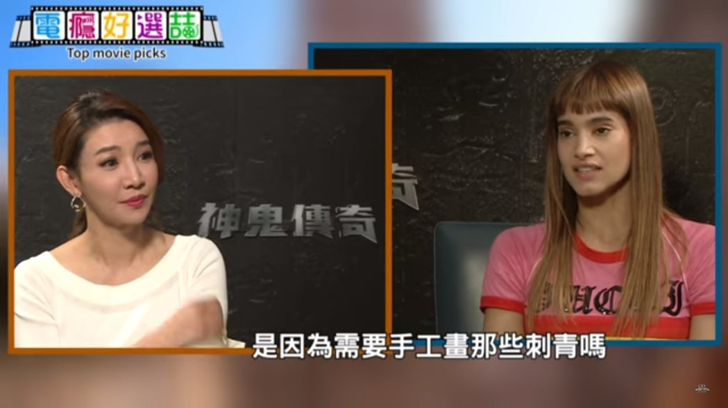簡立喆(左)專訪「神鬼傳奇」女星蘇菲亞波提拉。圖/摘自臉書