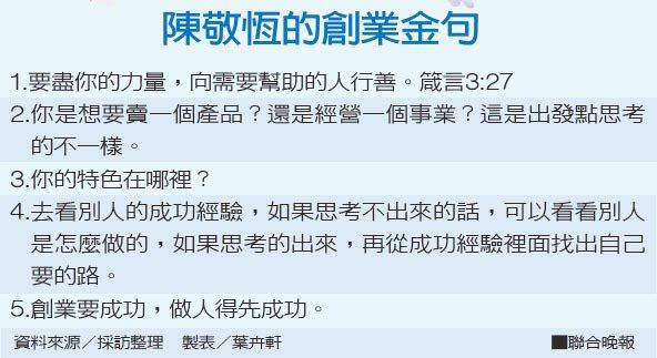 陳敬恆的創業金句資料來源/採訪整理 製表/葉卉軒