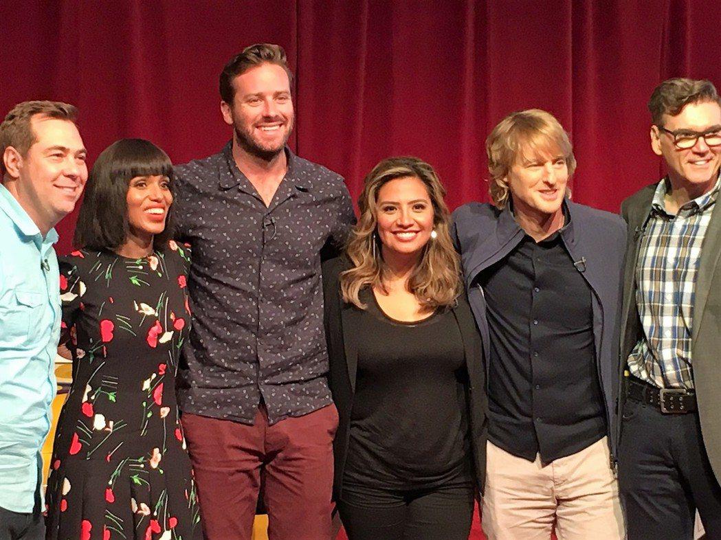 「汽車總動員3」導演布萊恩佛瑞(左一)帶主要配音演員出席記者會。(記者馬雲/攝影...