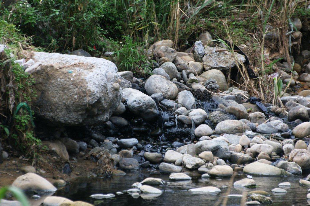 鐵皮廠房緊鄰五股坑溪邊,明顯看到河川石頭被染黑。記者王敏旭/攝影