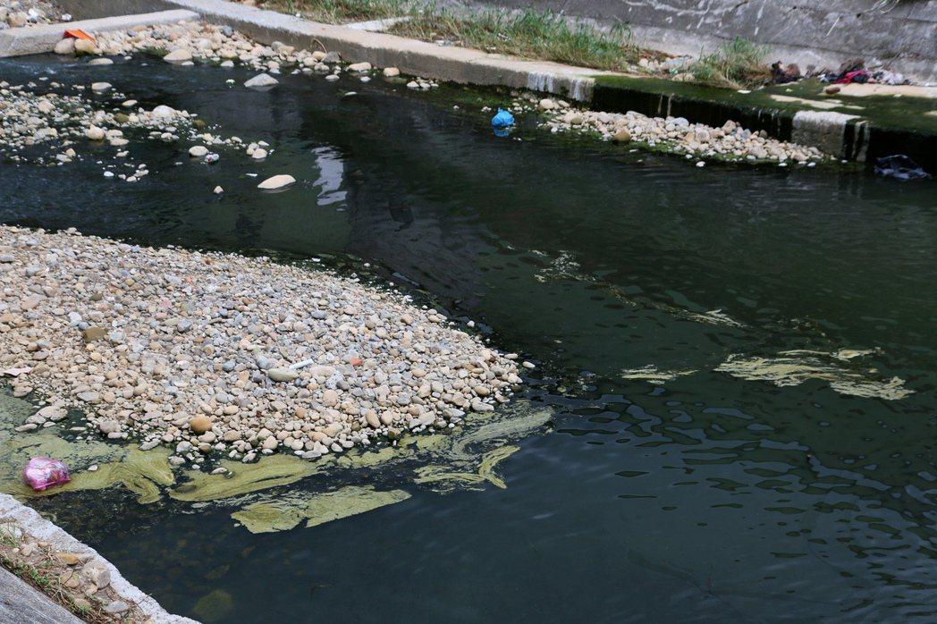 五股坑溪沿岸工廠林立,不少工廠排放廢水導致河川「染黑」。記者王敏旭/攝影