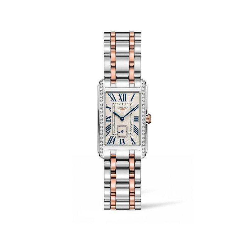 浪琴表新多情系列鑲鑽雙色金腕表,23毫米表徑,約14萬1,800元。圖/Long...