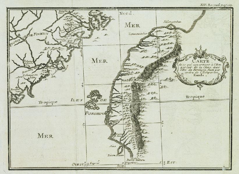 1714年(康熙53年)法籍耶穌會士馮秉正等人所測繪的臺灣地圖。圖上以虛線沿著山...