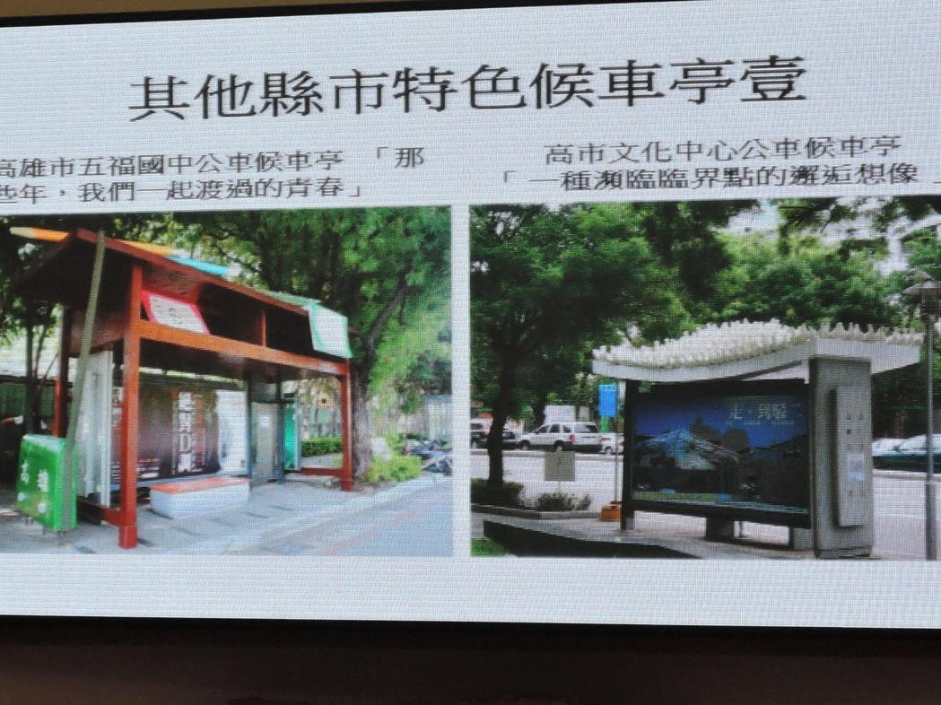 新北市議員李倩萍在市政總質詢指出,外縣市有很多特色公車亭,非常值得新北市效法。記...