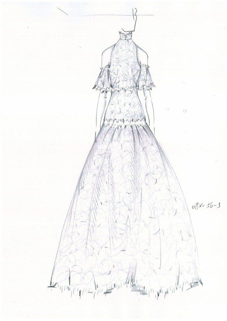 楊子姍禮服正面手繪稿。圖/SHIATZY CHEN提供