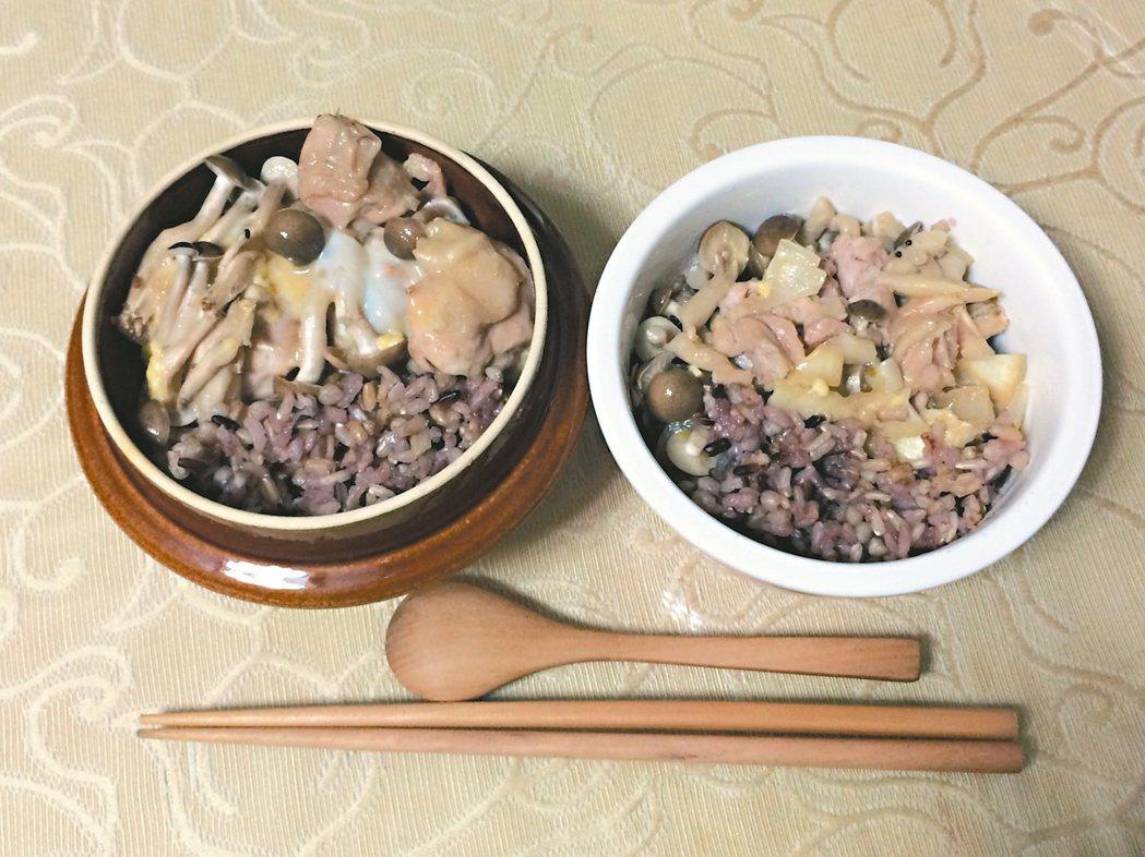 用電鍋做親子雞肉丼,可一次做二人份餐食。 圖/涂蒂雅提供