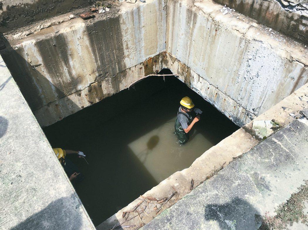 市議員吳志剛昨天視察內湖大排,發現排水箱涵竟有高達80公分積水,恐影響排洪效果。...