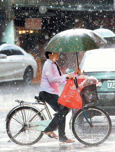 大台北地區昨天午後下起間歇性豪雨,一名騎乘腳踏車出外採買的婦女,撐著傘小心翼翼穿...