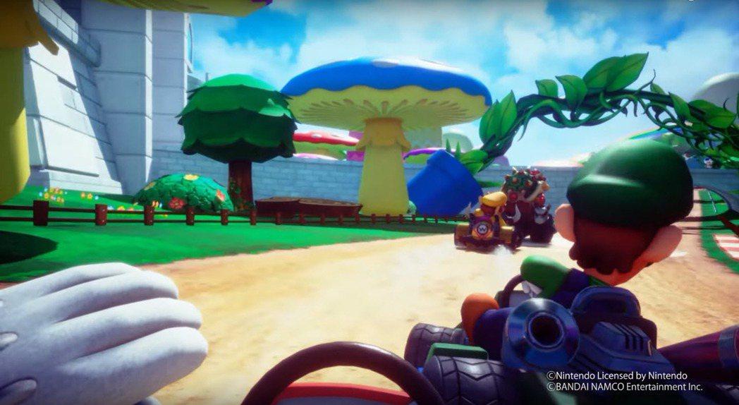 《瑪利歐賽車》「Arcade GP VR」。 圖/擷自超現実エンターテインメント...