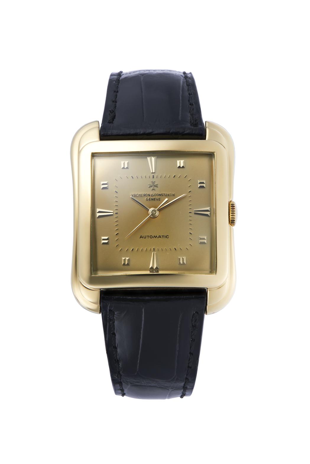 江詩丹頓編號編號11988,1957年生產18K黃金男表,造型獨特,被義大利藏家...