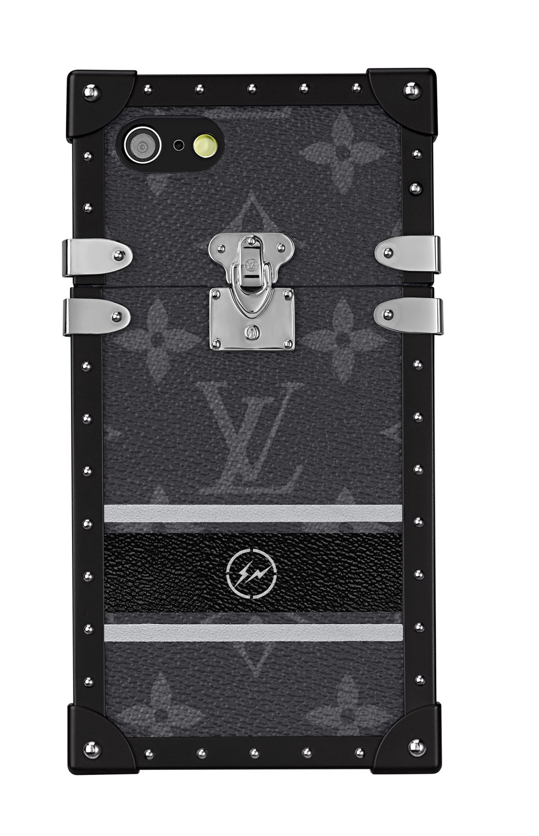 配件系列的手機殼以鎖頭與鉚釘作為裝飾。圖/LV提供