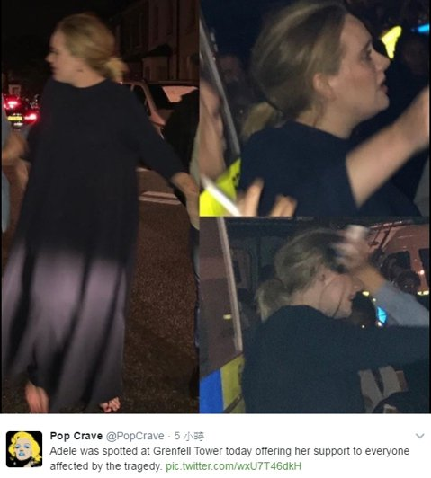 英國倫敦1棟大樓發生重大火災,事發不到24小時後,在地出身的鐵肺歌后愛黛兒低調現身,她1個又1個地擁抱、安慰災民,暖心的舉動,讓捕獲她的鄉民狂讚「天使」。英國「每日郵報」(Daily Mail)報導...
