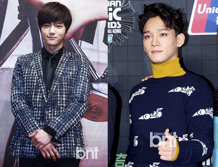 韓國網友稱鄭宇宙有韓國男團EXO成員Chen(右)與Infinite成員L(左)...