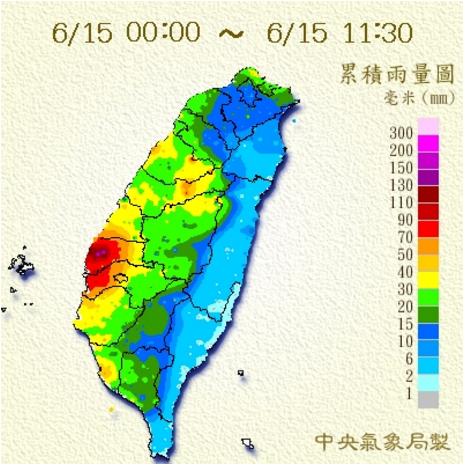 根據累積雨量圖,雲林沿海地區累積雨量較多。圖/翻攝自氣象局網站