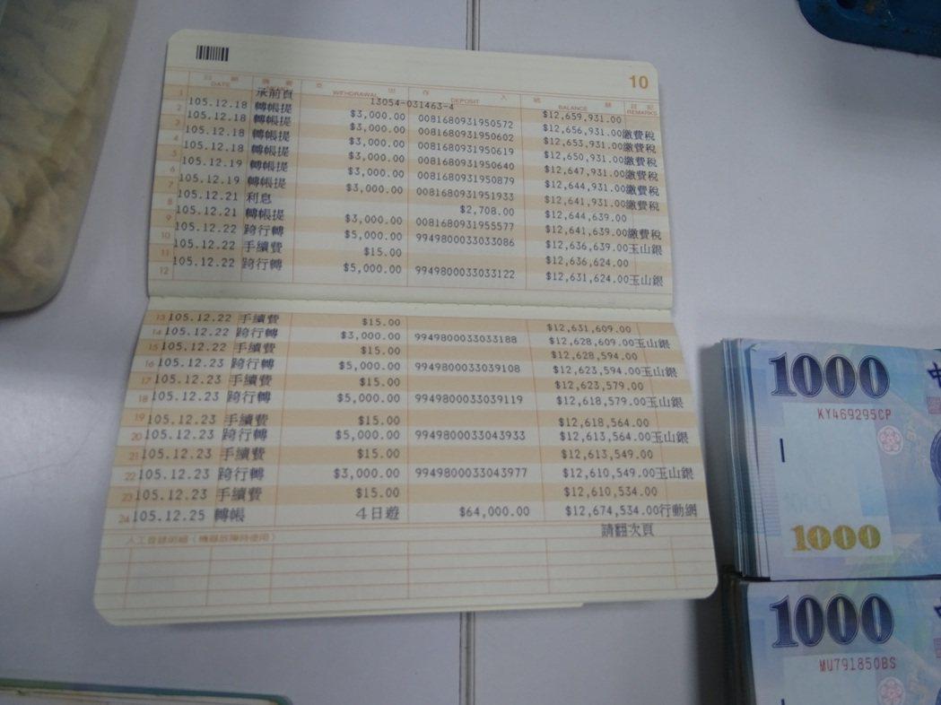 警方發現夫妻倆的帳戶內有1200多萬元。記者江孟謙/攝影