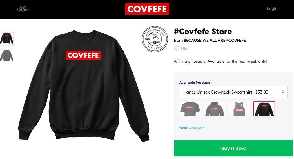 網路上販售「covfefe」衣物。 圖/取自Teespring網站