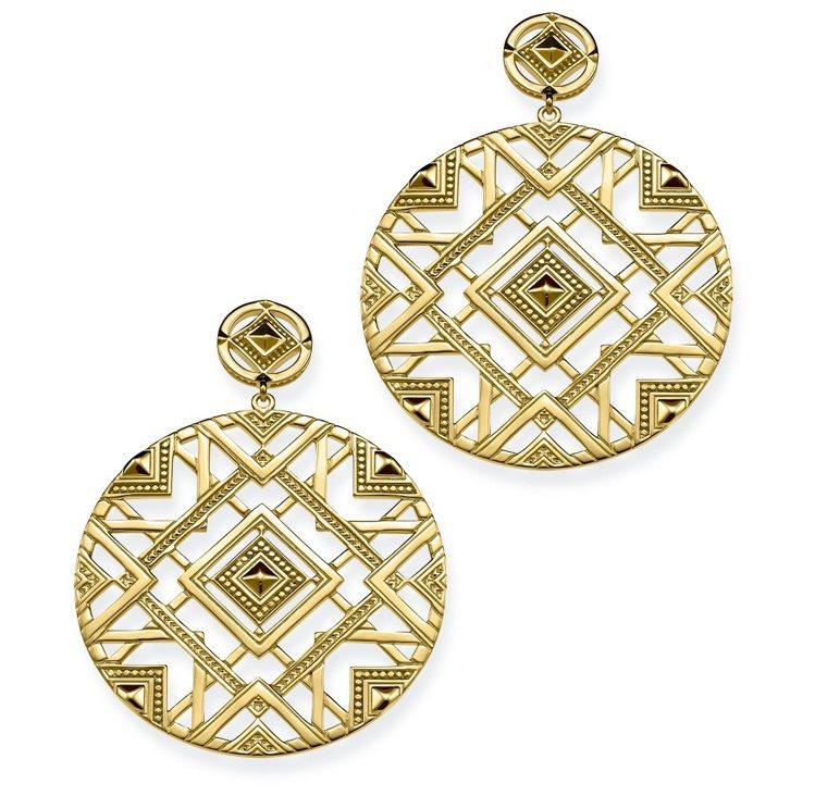 分層幾何金色耳環,15,800元。圖/THOMAS SABO提供