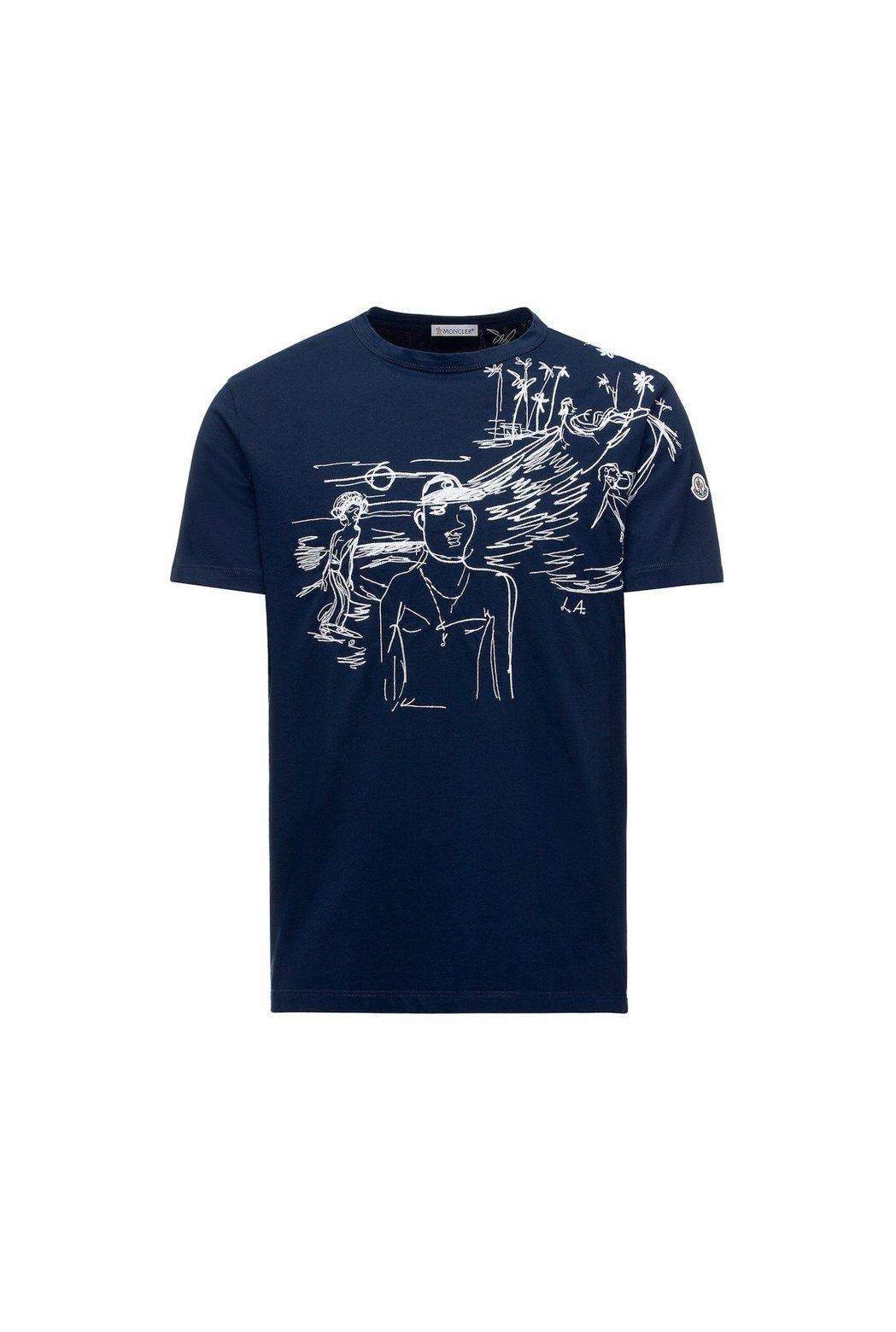 POSTCARD如畫景致系列度假手繪粗針織刺繡深藍色T恤,售價11,600元。圖...