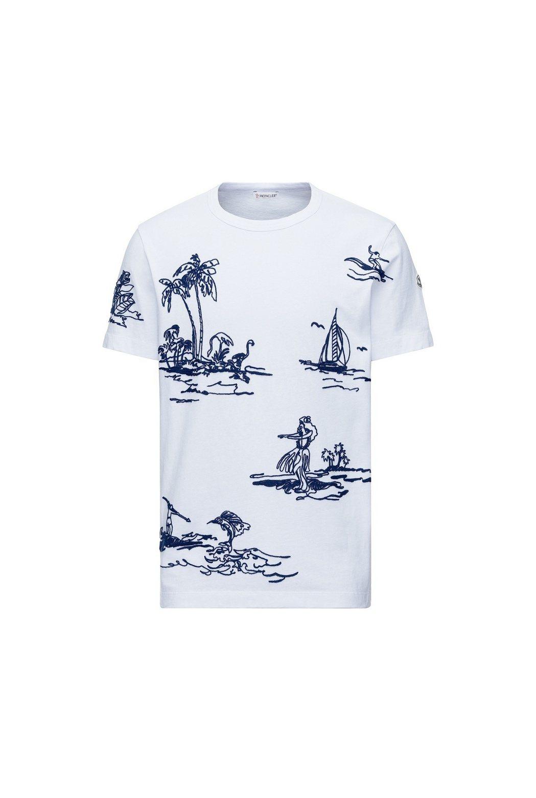 POSTCARD如畫景致系列度假手繪粗針織刺繡白色T恤,價格店洽。圖/MONCL...