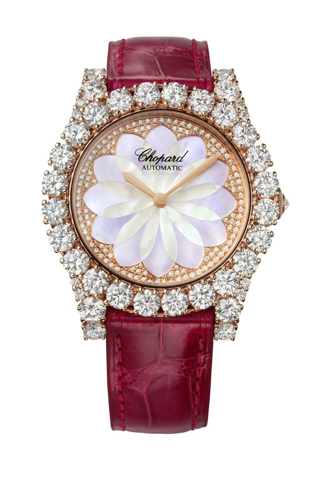 蕭邦 L'Heure Du Dimant系列腕表,18K玫瑰金鑲嵌7.68克拉鑽...