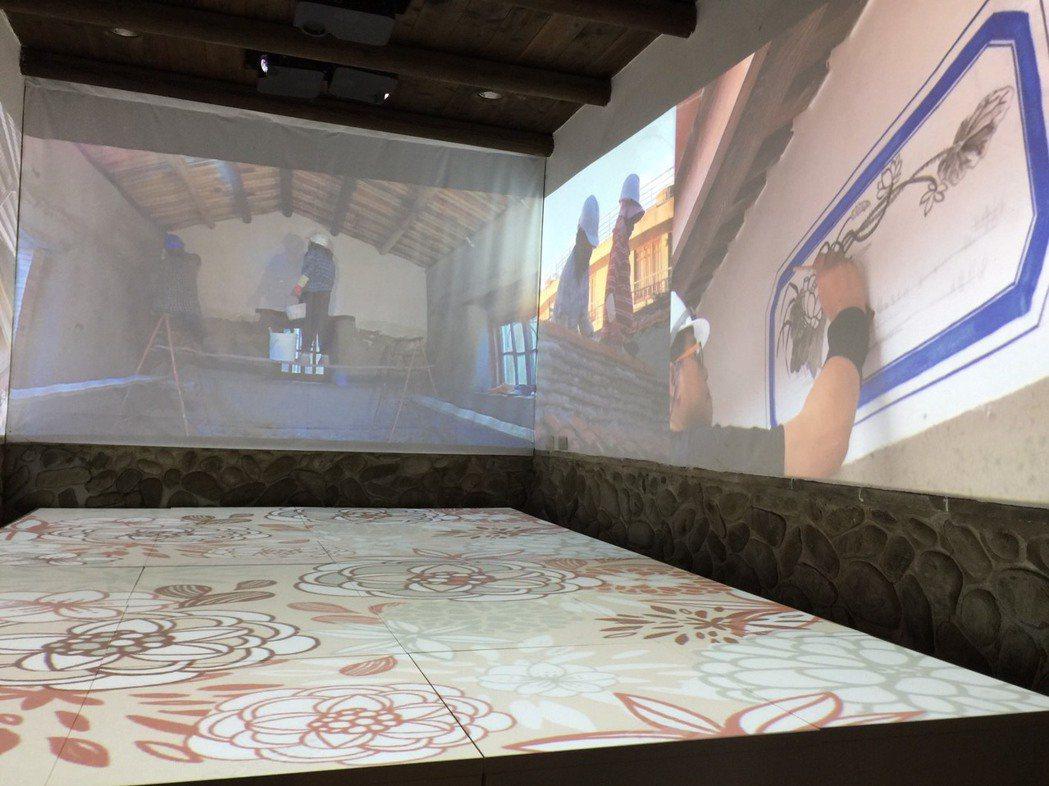 環場式投影空間目前展出忠孝堂修復的過程。記者郭政芬/攝影
