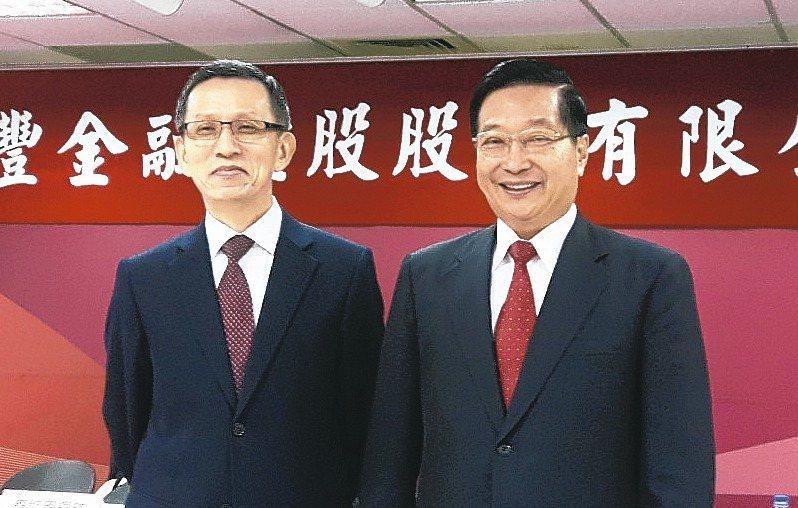 兆豐金董事長張兆順(右)與總經理楊豊彥。 記者夏淑賢/攝影
