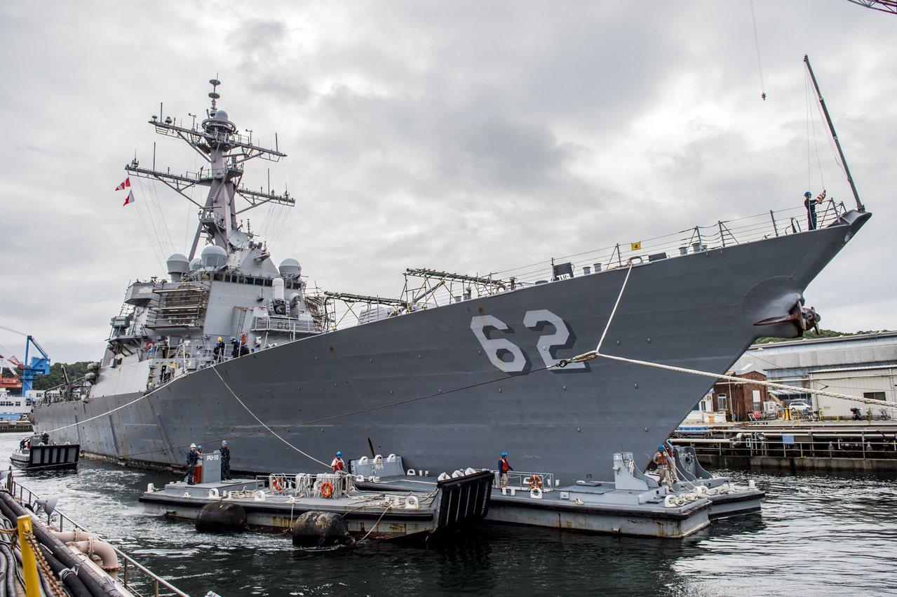 美國海軍驅逐艦「費茲傑羅號」在日本橫須賀(Yokosuka)西南海面上與1艘商船...