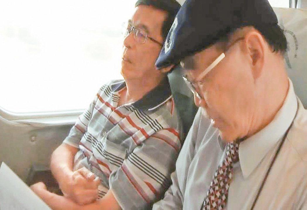 2016年阿扁搭高鐵北上參加餐會,放下在腹部交叉的雙手,媒體鏡頭移過來時,右手大...
