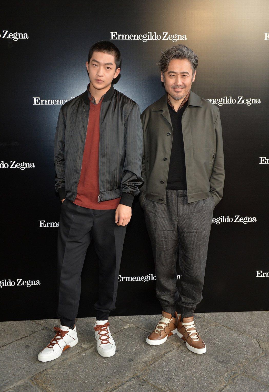 大陸演員屈楚蕭(左)及吳秀波受邀參加Ermenegildo Zegna Cout...
