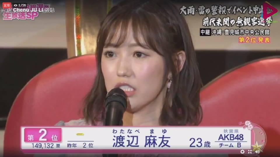 渡邊麻友奪下亞軍後宣布畢業。圖/摘自臉書