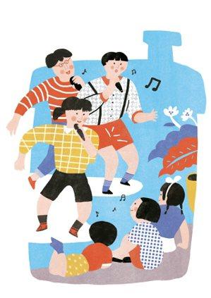 生活點滴我家客廳,成了人聲合唱舞台! 圖╱陳佳蕙