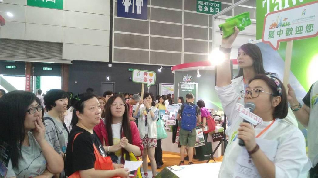 台中觀旅局到香港參展,為台中明年的花博預做宣傳。圖/台中觀旅局提供