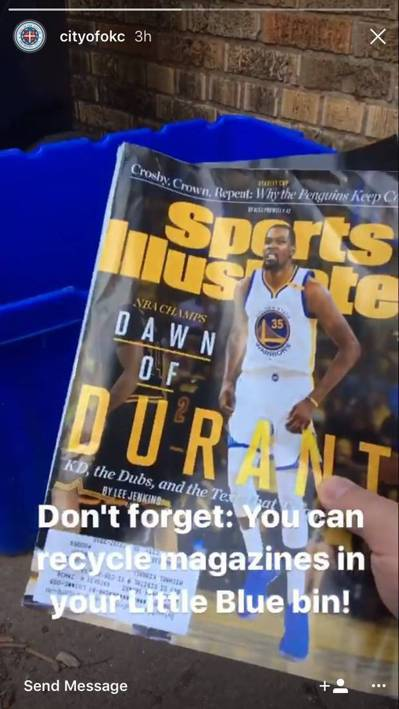 奧克拉荷馬市Instagram提醒球迷將印有杜蘭特封面的雜誌,丟到回收桶裡。。圖...