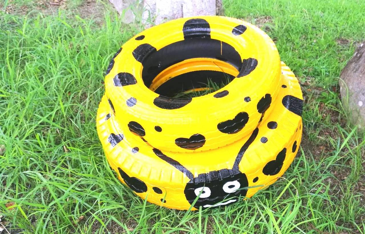 廢輪胎瓢蟲很可愛。記者蔣繼平/翻攝