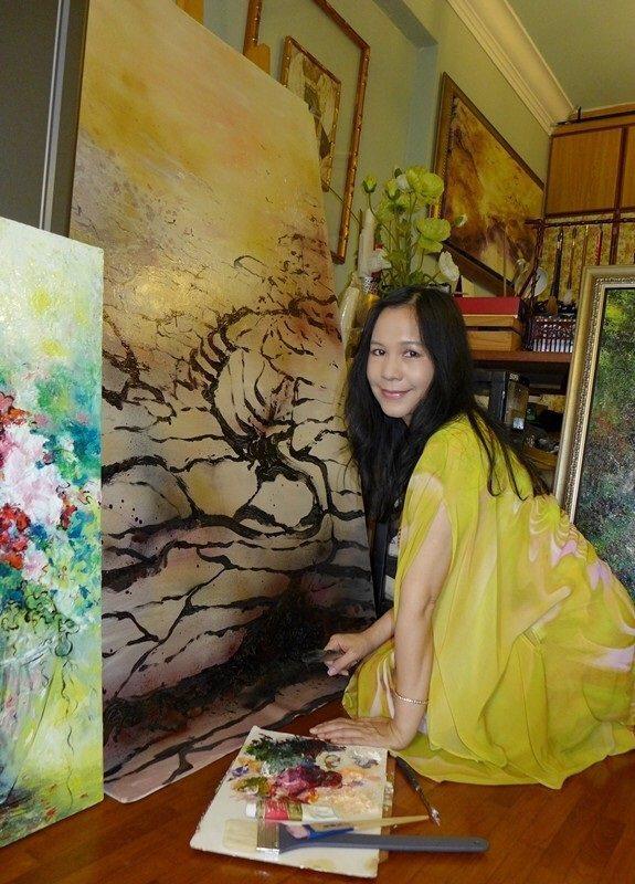 陳玉庭創作在技巧方面兼具細膩與粗獷。
