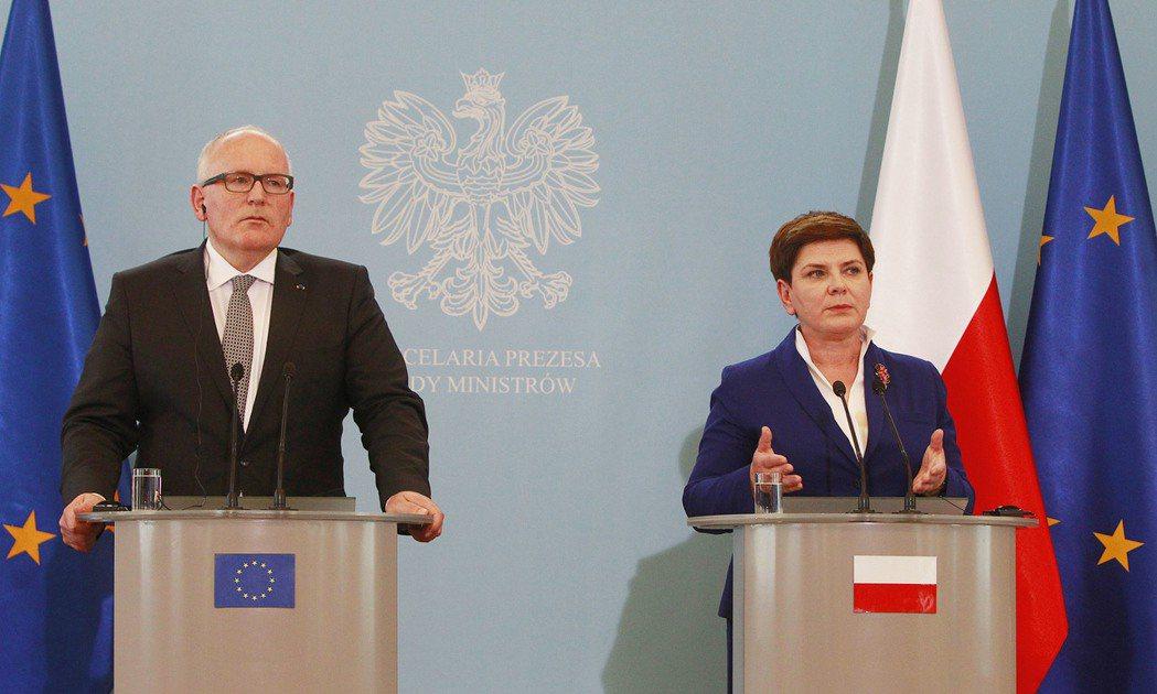 「波蘭只跟某位執委有摩擦而已!」歐盟執委會副主席堤孟思(左)與波蘭總理席德沃(右...