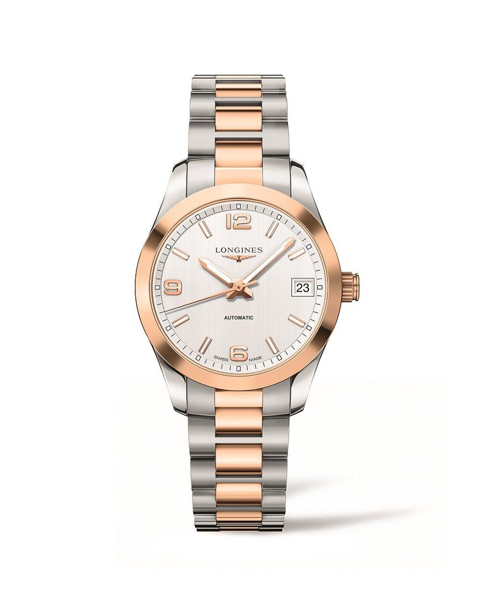 Nancy配戴的浪琴表征服者經典系列白面雙色金女錶,117,600元。圖/浪琴提...