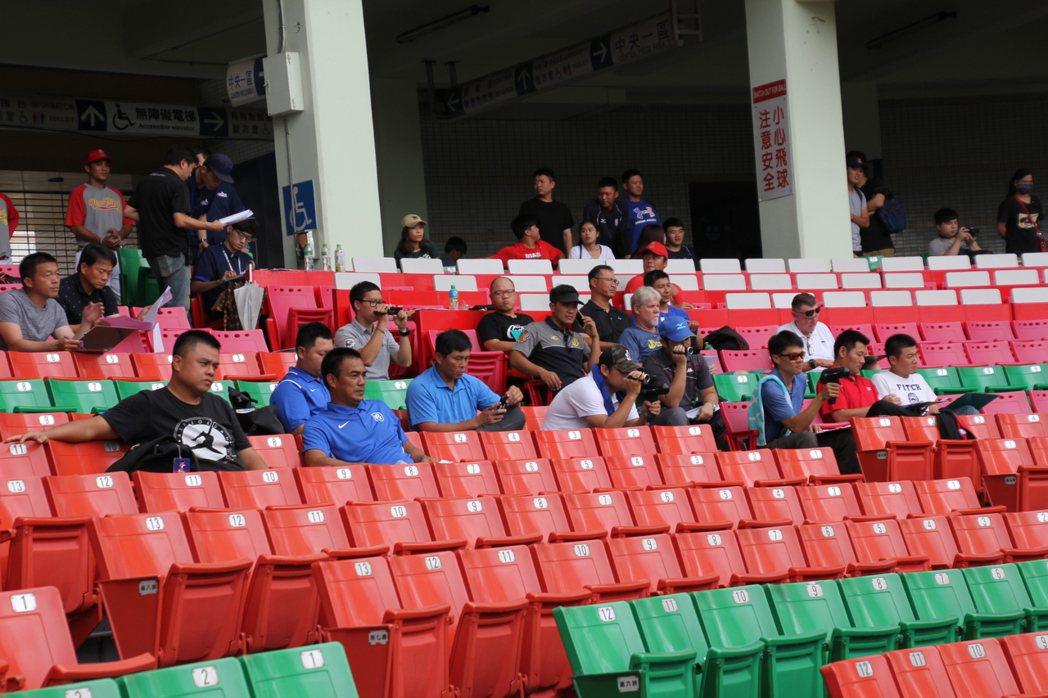 中職測試會,4隊教練、球探近30人到場。記者葉姵妤/攝影