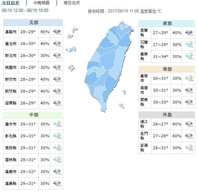 今天下午各地天氣。圖/翻攝自氣象局網站
