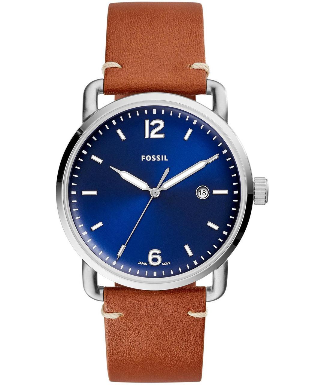 Fossil The Commuter藍色表盤皮革腕表,約3,900元。圖/Fo...