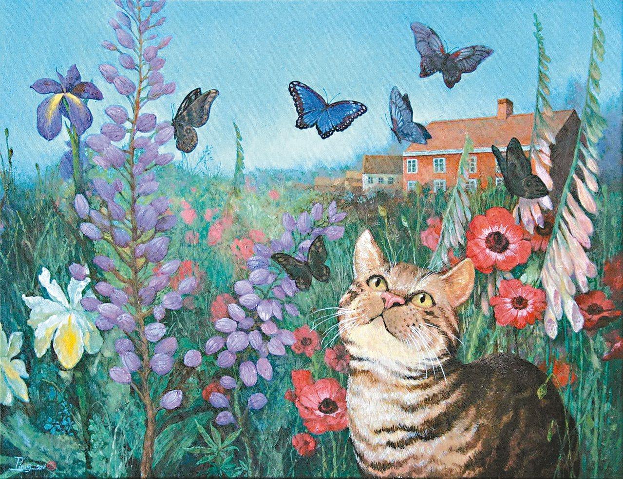 劉子平油畫作品〈擬人的花園──春季〉