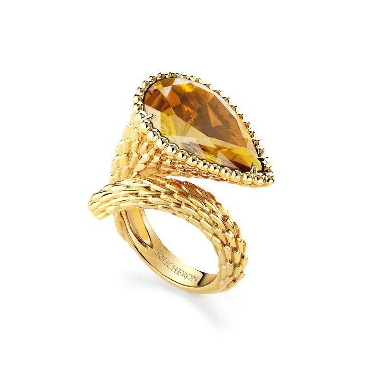 Serpent Boheme黃K金戒指鑲嵌黃水晶7.68克拉,27萬1,000元...