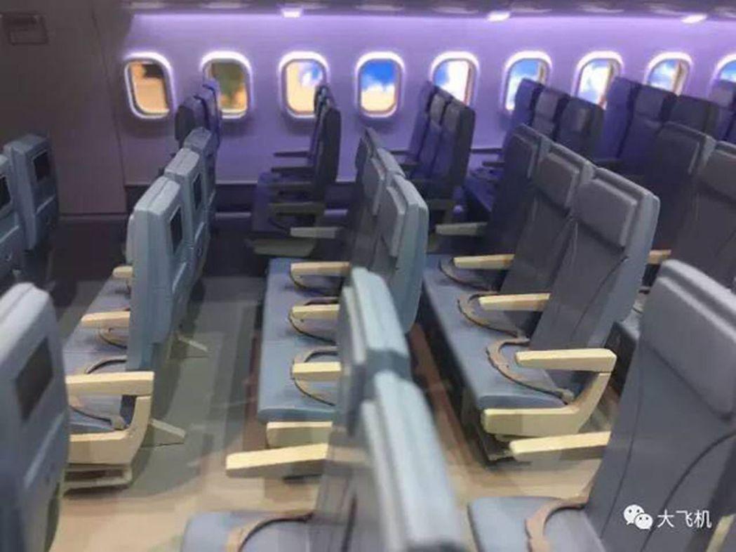 中俄遠程寬體客機的客艙內部布置。(取材自微信) 吳柏萱