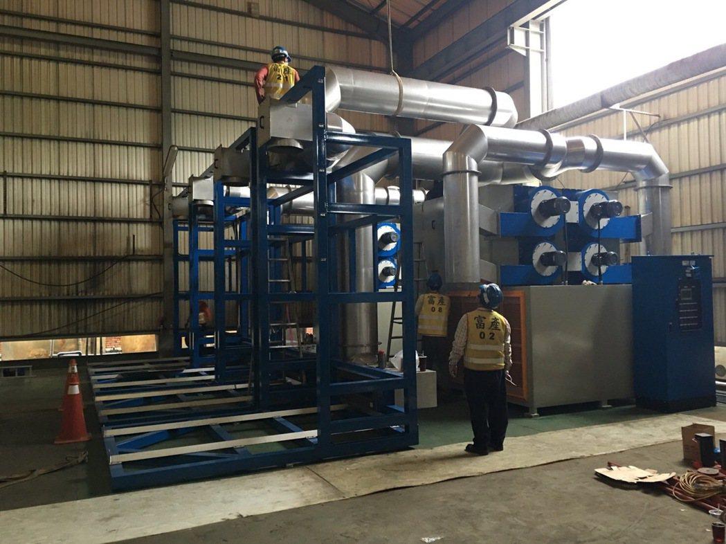 富產機械公司所研製的循環式汙泥乾燥設備。 富產公司/提供